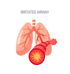 irritated lungs icon in flat style vector image