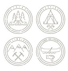 Line art grunge labels with canoecampingclimbing vector