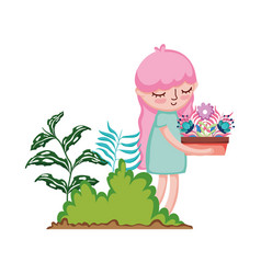 Little girl lifting houseplant in the camp vector