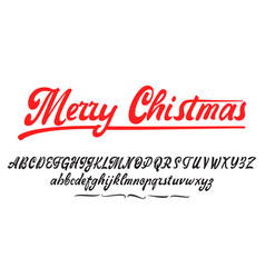 merry christmas handwritten latin alphabet can vector image