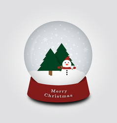 merry christmas snow globe with snowman and vector image