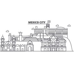 Mexico city architecture line skyline vector