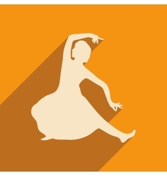 Modern flat icon with long shadow Indian dancer vector