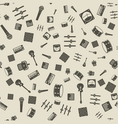 monochrome music gear icons seamless pattern vector image
