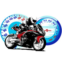 Motorbike rider abstract silhouette road vector