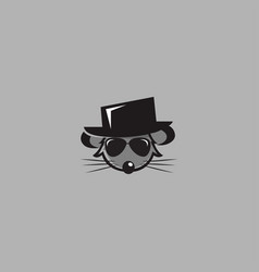 mouse wearing a hat logo vector image