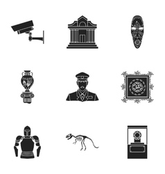 Museum set icons in black style Big collection of vector