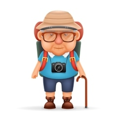 Old backpacker man grandfather photo camera 3d vector