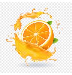 Orange juice splash realistic 3d fruit vector