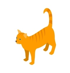 Orange tabby cat icon isometric 3d style vector image