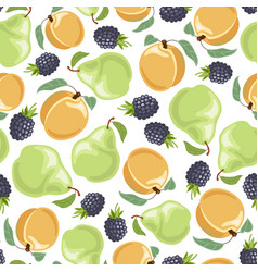 peach pear blackberries seamless pattern vector image