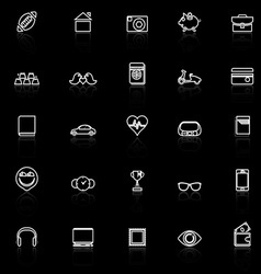 Personal data line icons with reflect on black vector