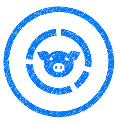 Pig diagram rounded grainy icon vector