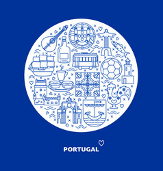 Portugal round concept with icons in line style vector