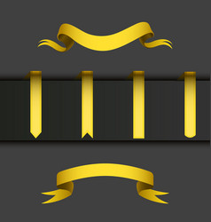 realistic gold ribbons tape flag banner elegance vector image
