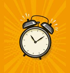 Ringing alarm clock retro comic pop art vector