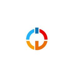round power button technology logo vector image