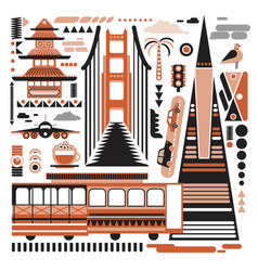San-francisco pattern simple on white vector