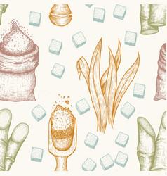 seamless pattern sugarcane cane sugar and vector image