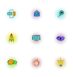 SEO optimization icons set pop-art style vector