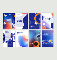 set brochure annual report design template vector image