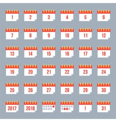 Set collection of flat design calendar icons vector image