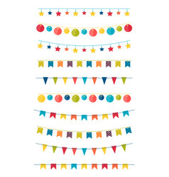 Set flat buntings garlands with ornaments vector