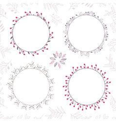 set floral frames in brown colors vector image