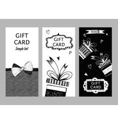 Set of gift cards hand-drawn Templates gift vector image