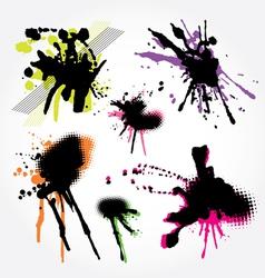 set of grunge splashes colorful vector image