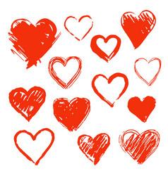 Set of hand drawn hearts design element vector