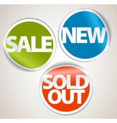 Set of labels for the new sold out and discount it vector