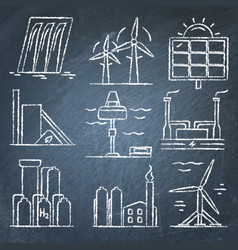 Set of renewable energy hand drawn icons on vector