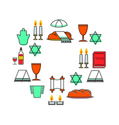 Shabbat shalom greeting card vector