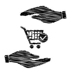 Shopping Cart and Check Mark Icon vector image