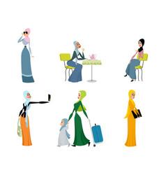 six beautiful arab women vector image