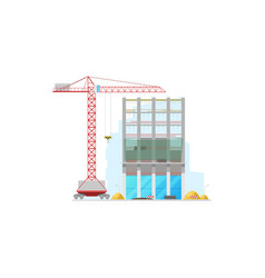 skyscraper construction site isolated building vector image