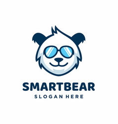 Smart bear in sunglasses logo design template vector