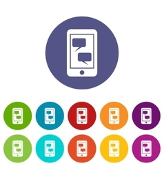 Smartphone and speech bubbles set icons vector image