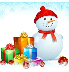Snowman with Christmas Gifts vector