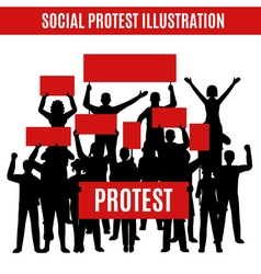 Social Protest Silhouettes Composition vector