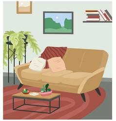 sofa couch in scandinavian hygge cozy interior vector image
