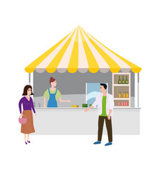 Street food drinks market talls canopy and vector
