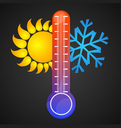 Thermometer sun and snowflake vector
