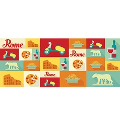 travel and tourism icons Rome vector image
