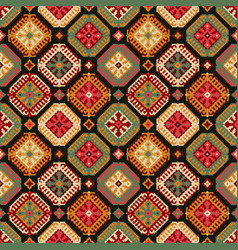 tribal carpet ethnic geometric seamless pattern vector image