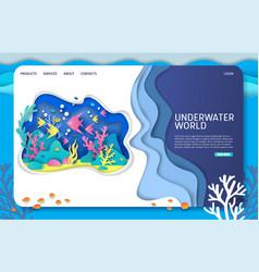 underwater world website landing page vector image