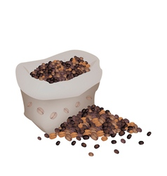 Various Kind of Coffee Beans in A Sack vector