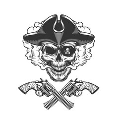 vintage pirate skull with eye patch vector image