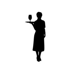 waitress female silhouette on white vector image